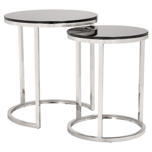 Petite Modern Black Tempered Glass and Polished Stainless Steel Nested Tables - ZM Home - image 1 of 8