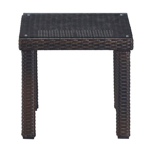 Tahoe Outdoor Side Table Brown Wicker, Outdoor End Tables
