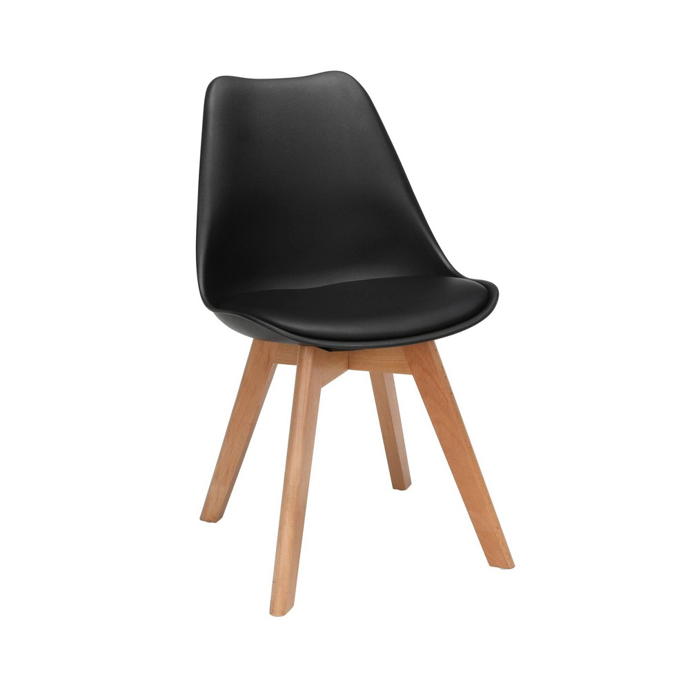 "Image of ""18"""" Set of 2 Plastic Molded Mid-Century Modern Dining Chairs with Vinyl Seat Cushion Solid Beechwood Legs Black - OFM"""