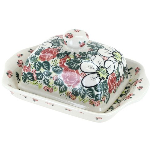 Blue Rose Polish Pottery Rose Garden Butter Dish - image 1 of 1