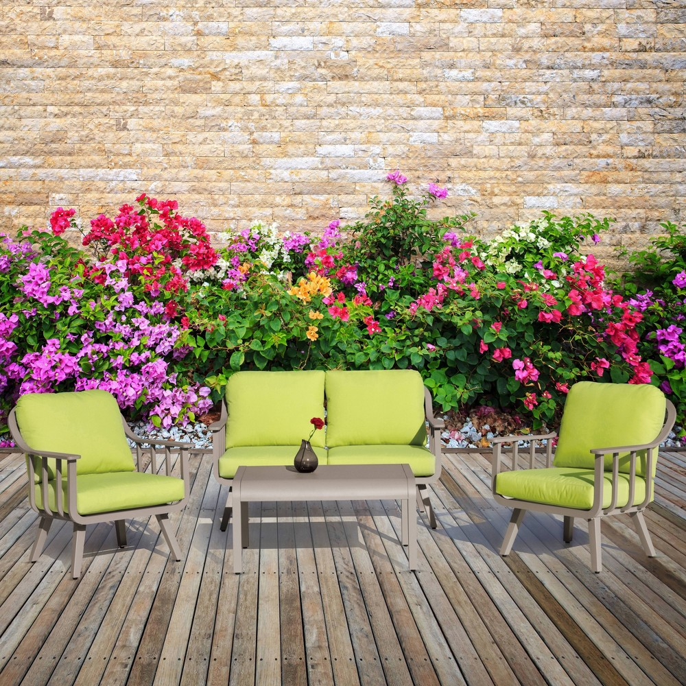 Image of 4pc Aluminum Patio Seating Set With Cushions Green - Nuu Garden