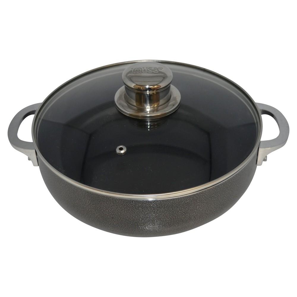 Imusa 6.9qt Nonstick Aluminum Caldero with Glass Lid, Black