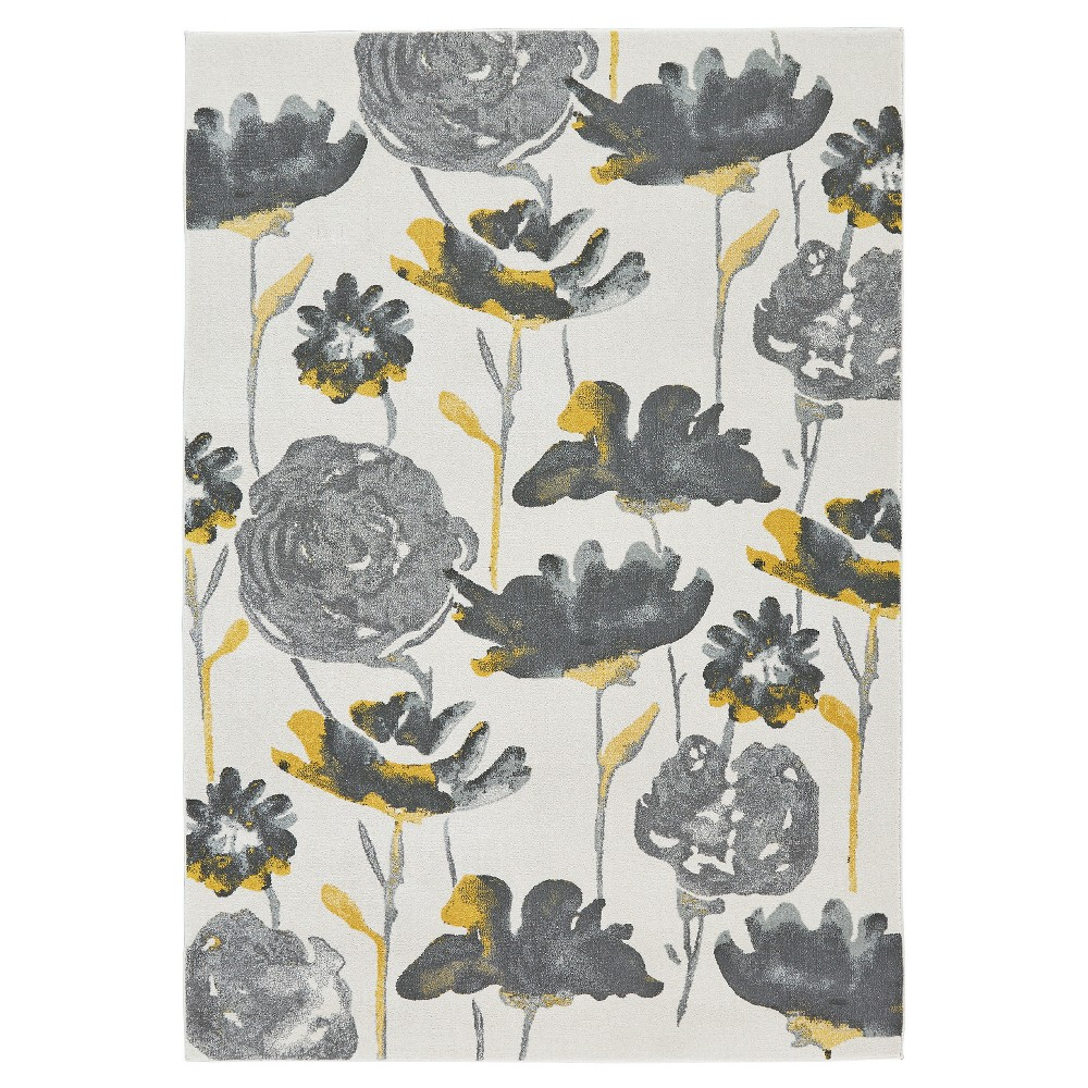 8'X11' Floral Woven Area Rugs Gray - Room Envy