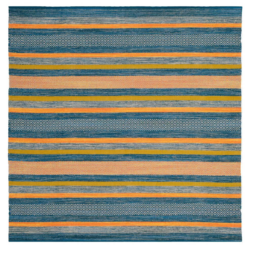 Blue/orange Stripe Woven Square Area Rug 6'X6' - Safavieh, Orange Blue