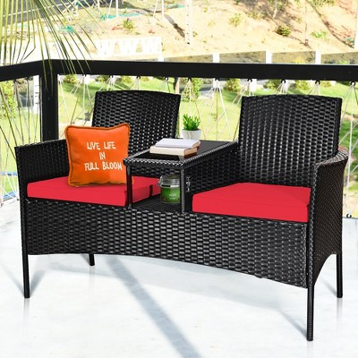 Costway Patio Rattan Conversation Set Seat Sofa Cushioned Loveseat Glass Table Chair Red\Turquoise