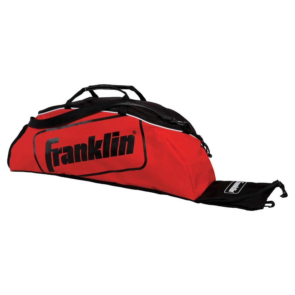 Franklin Bat Bag, Multi Colored The Franklin Sports Junior Equipment Bag has room to hold up to 3 bats and features a ventilated cleat storage compartment for easy storage and transport. Pack up your equipment and start playing with the Junior Equipment Bag from Franklin Sports. Color: Multi Colored. Age Group: Adult.