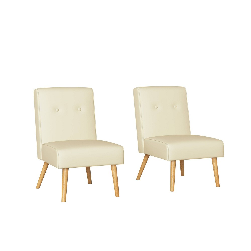 Image of 2pc Webster Button Tufted Armless Chair Almond - Handy Living