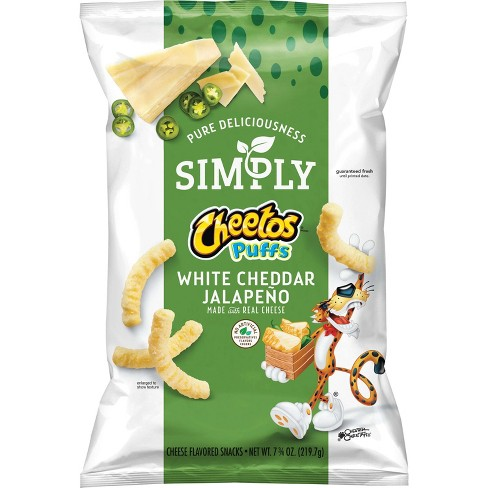 Cheetos Simply White Cheddar Jalapeno Cheese Flavored Snack - 7.75oz - image 1 of 3