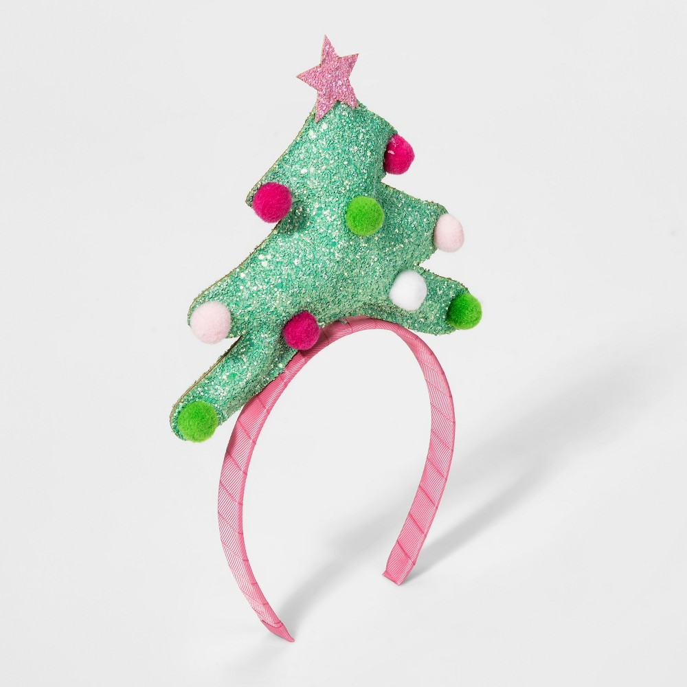 Girls' Glitter Pom Christmas Tree Headband - Cat & Jack Green