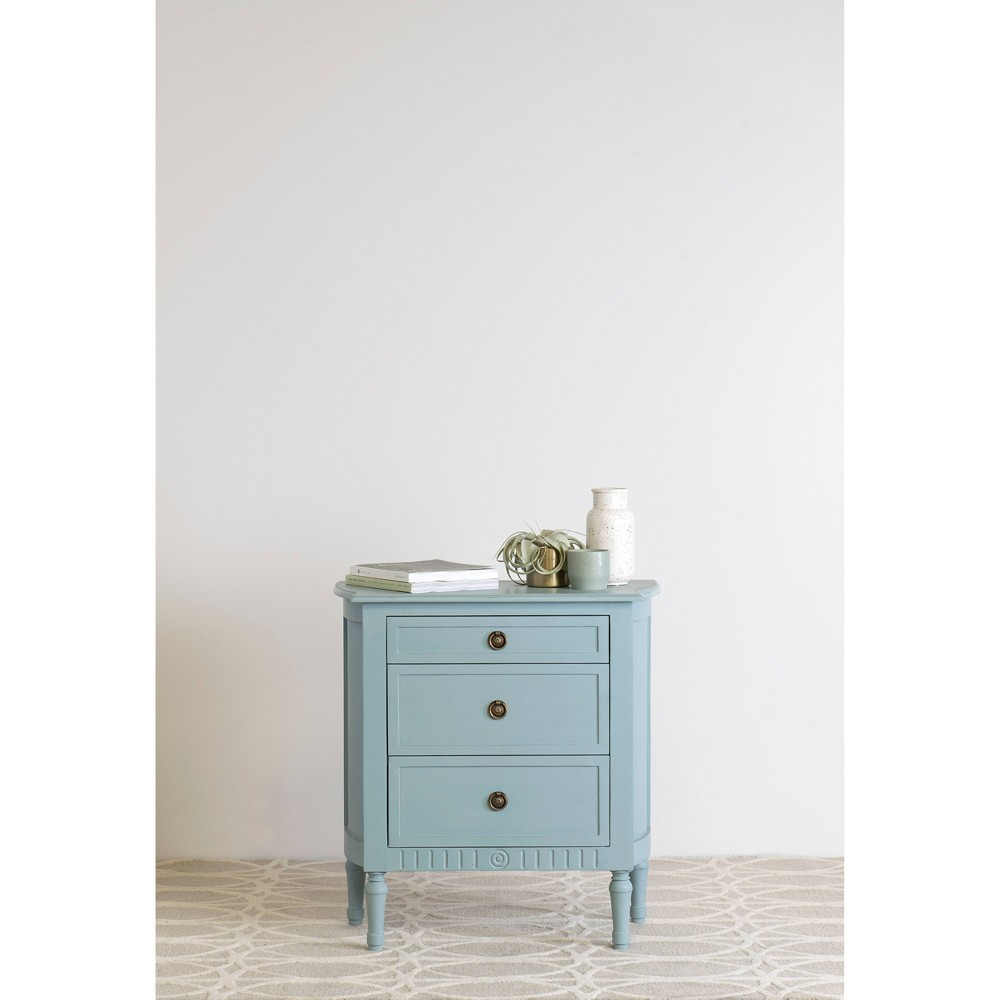 Cassidy 3 Drawer Chest Nightstand Blue - East At Main