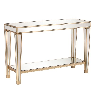Minho Mirrored Console Table Metallic Champagne Gold   Aiden Lane by Aiden Lane…