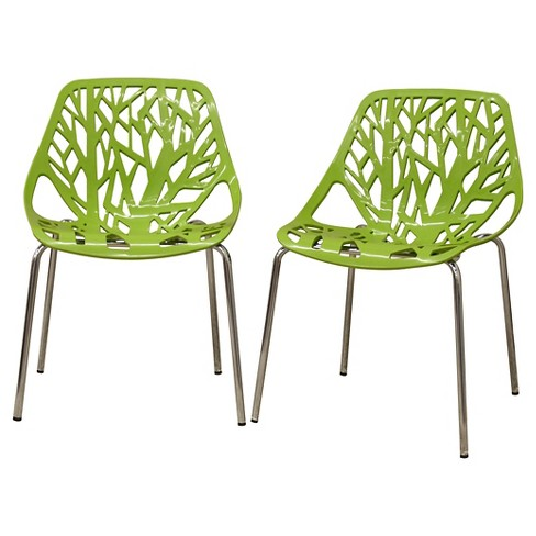 Birch Sapling Plastic Modern Dining Chair Set Of 2 Baxton Studio