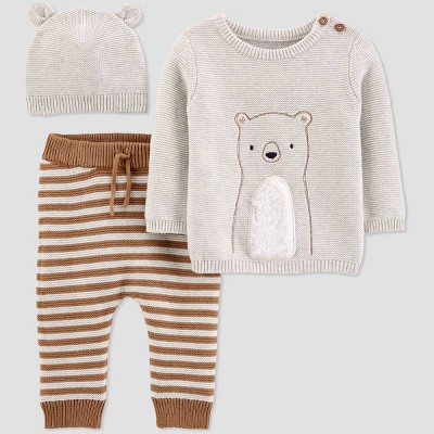 Baby Boys' Bear 3pc Top & Bottom Set - Just One You® made by carter's Brown 3M