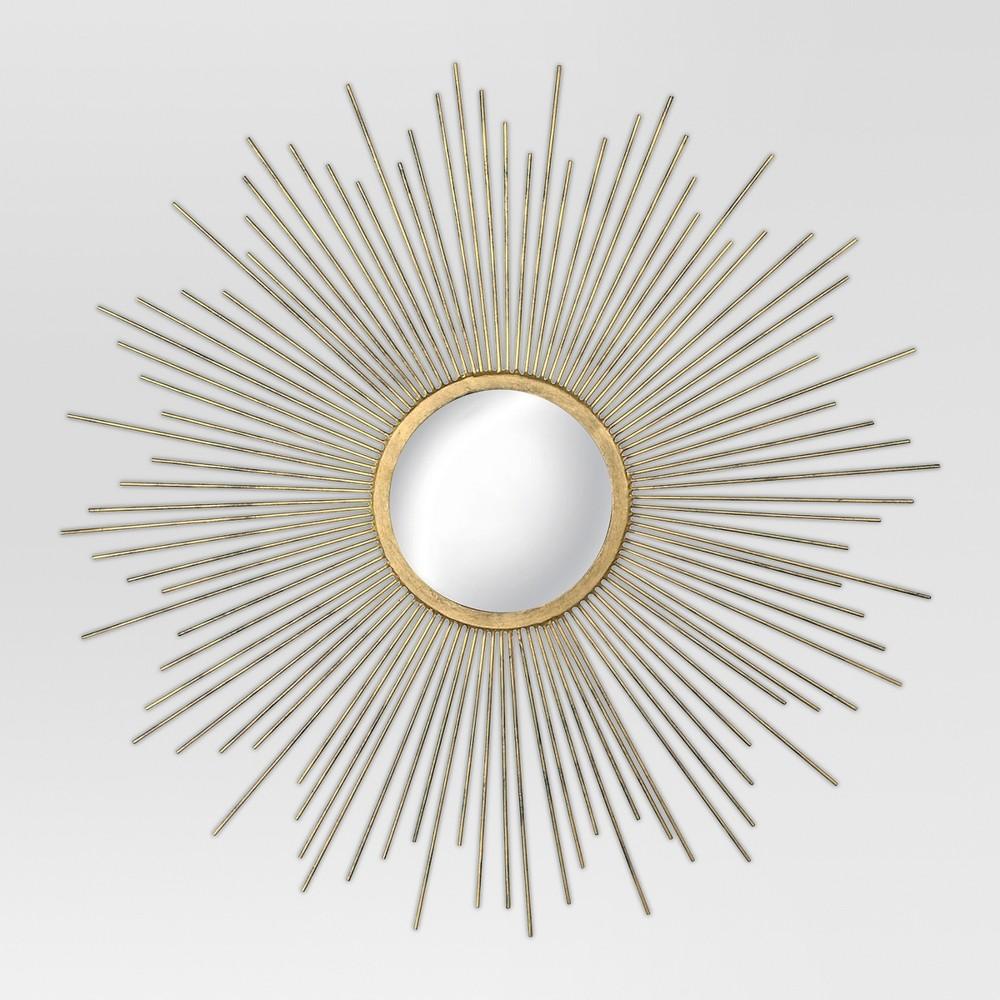 "Image of ""23"""" Sunburst Decorative Wall Mirror Metal Antique Gold - MCS"""