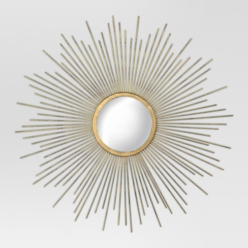 "23"" Sunburst Decorative Wall Mirror Metal Gold/Silver - Threshold™ - image 1 of 5"