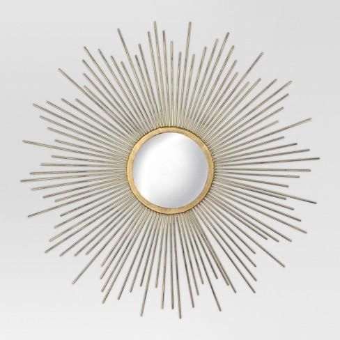 "23"" Sunburst Decorative Wall Mirror Metal Antique Gold - MCS - image 1 of 4"