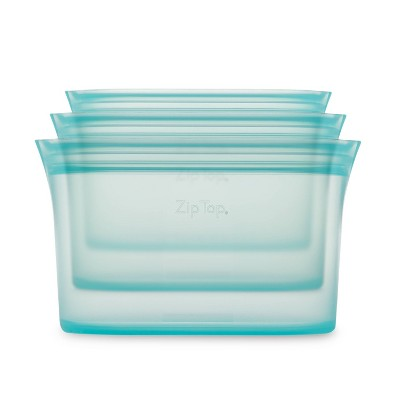 Zip Top Reusable 100% Platinum Silicone Container - 3 Dish Set (S/M/L)- Teal