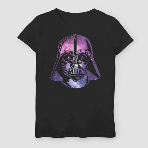 Girls' Star Wars Vader Helmet Galaxy T-Shirt - Black - image 1 of 2