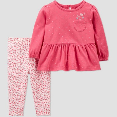 Baby Girls' 2pc Hearts Top & Bottom Set - Just One You® made by carter's Pink