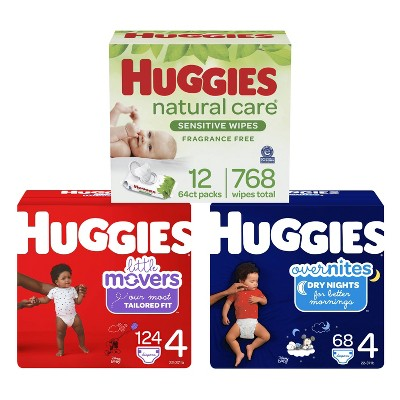Huggies Little Movers Baby Disposable Diapers Size 4 - 120ct + Overnite Baby Diapers Size 4 - 58ct + Natural Sensitive Baby Wipes - Bundle