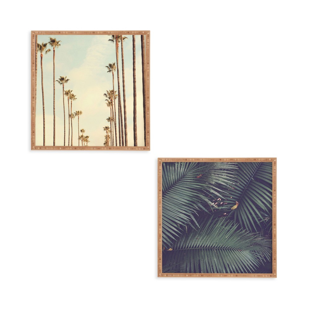 "Image of ""12""""x12"""" 2pc Beverly Hills Palm Tree Framed Decorative Wall Art Set Green - Deny Designs"""