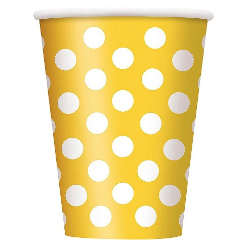 Yellow Polka Dot Paper Cup -12oz - 6 pack - image 1 of 1