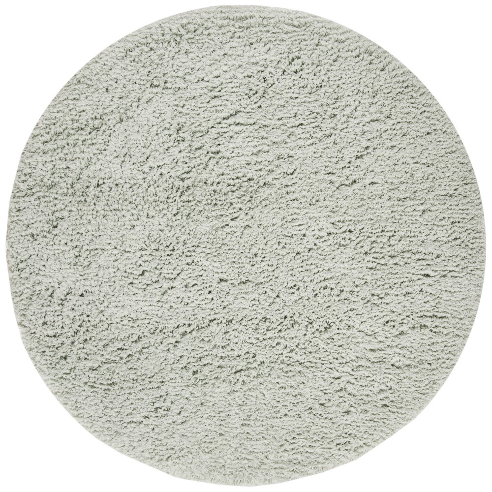 4'x4' Solid Shag And Flokati Rug Tufted Round Accent Rug Light Blue - Safavieh