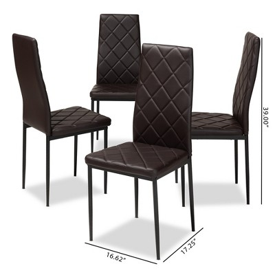 Set Of 4 Blaise Modern And Contemporary Faux Leather Upholstered Dining Chairs - Baxton Studio : Target