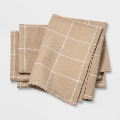 4pk Window Pane Napkins Beige - Threshold™