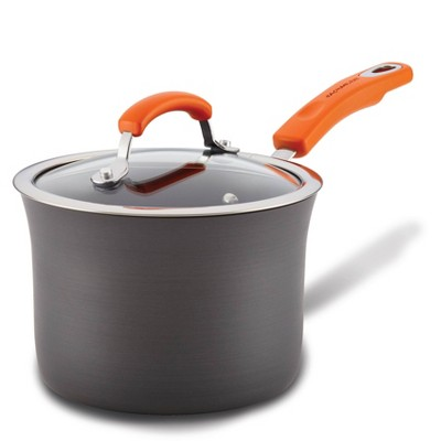 Rachael Ray 3qt Hard Anodized Aluminum Nonstick Saucepan with Orange Handles