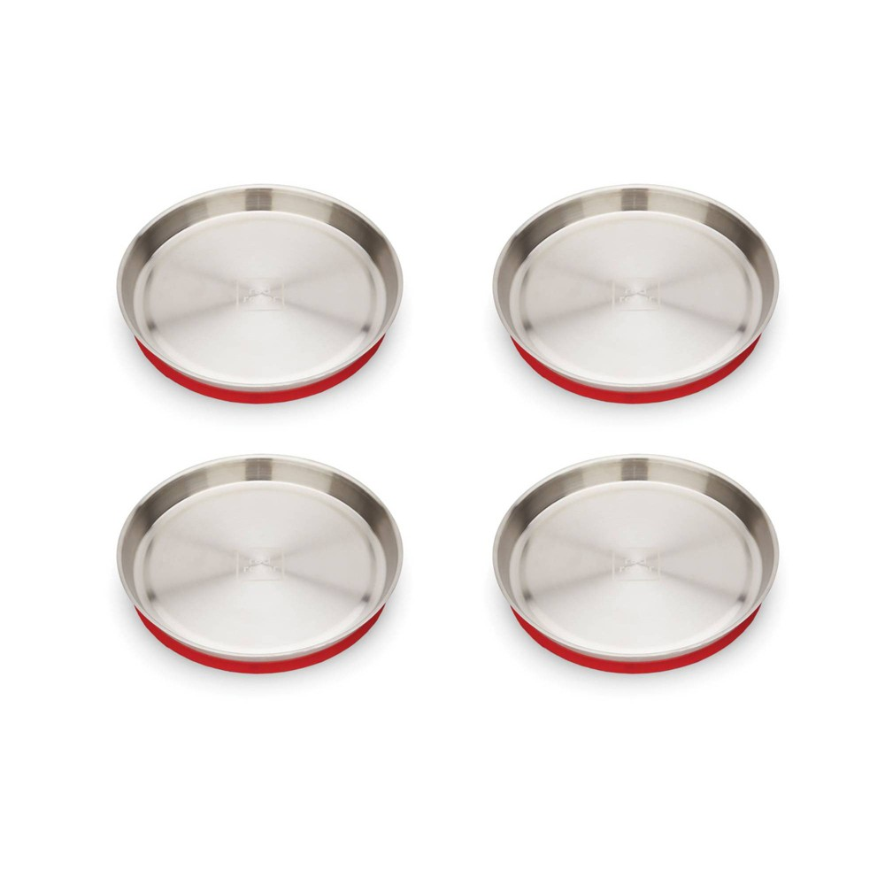 "Image of ""Red Rover 8.3"""" 4pk Stainless Steel Kids Suction Base Dining Plates Red"""