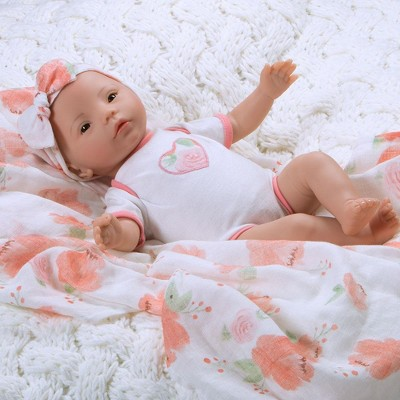 Paradise Galleries Newborn Baby Doll 16 inch Reborn Preemie, Swaddlers: Peach Blossom, Safety Tested for 3+, 4-Piece Set