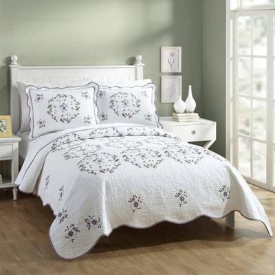 Modern Heirloom Gwen Quilt Set White/Lavender