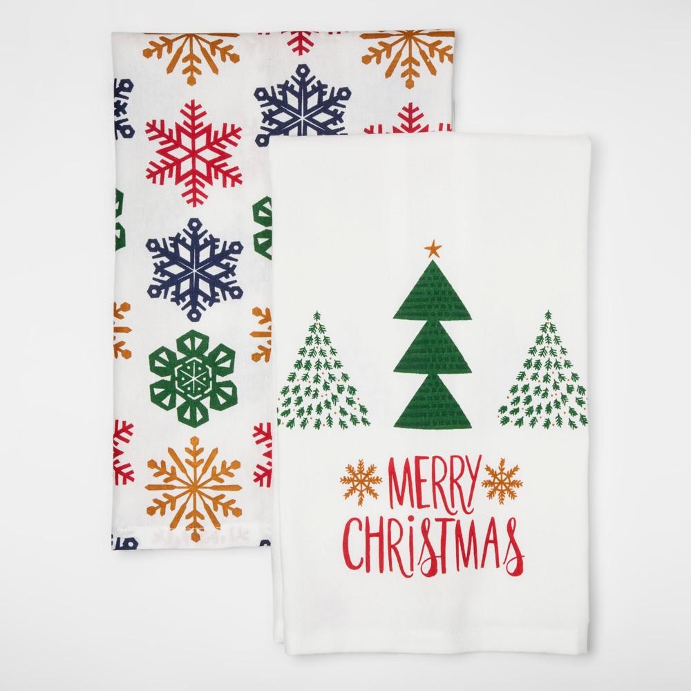 True Green Snowflakes Merry Christmas Kitchen Textile Set - Wondershop