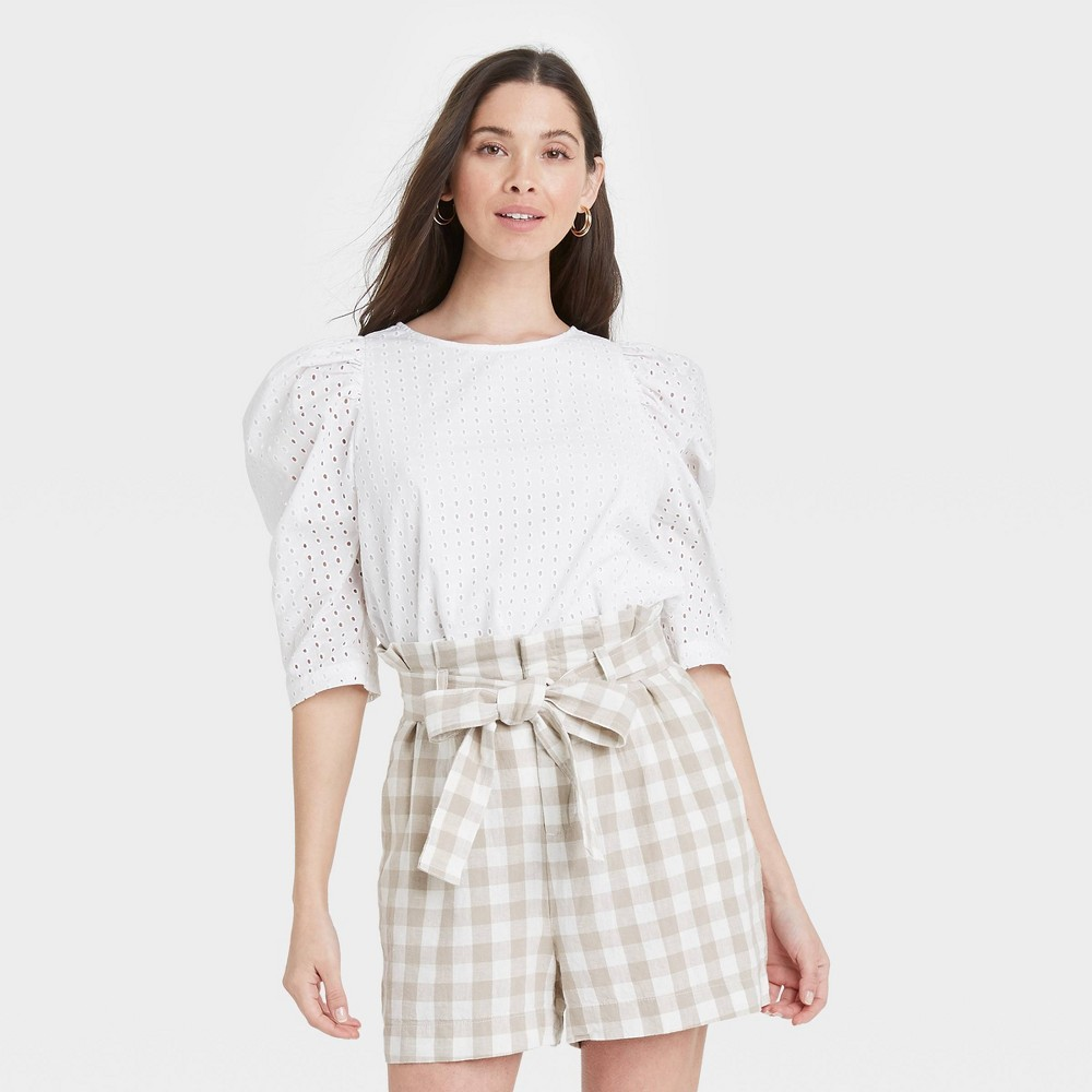 Women 39 S Elbow Sleeve Eyelet Top A New Day 8482 White Xl