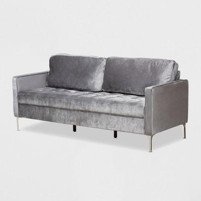 Clara Velvet Fabric Upholstered 3 Seater Sofa Gray - BaxtonStudio