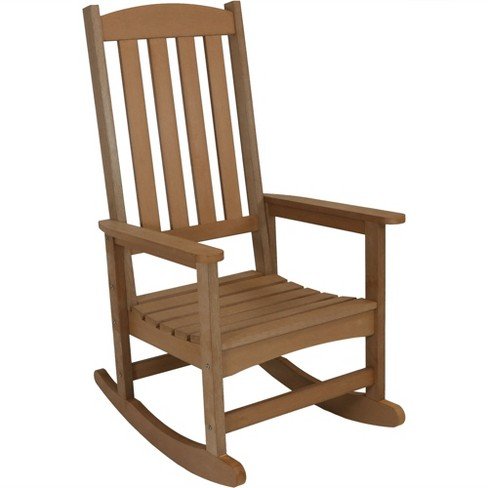 All-Weather Rocking Chair with Faux Wood Design - Single - Brown - Sunnydaze Decor - image 1 of 4