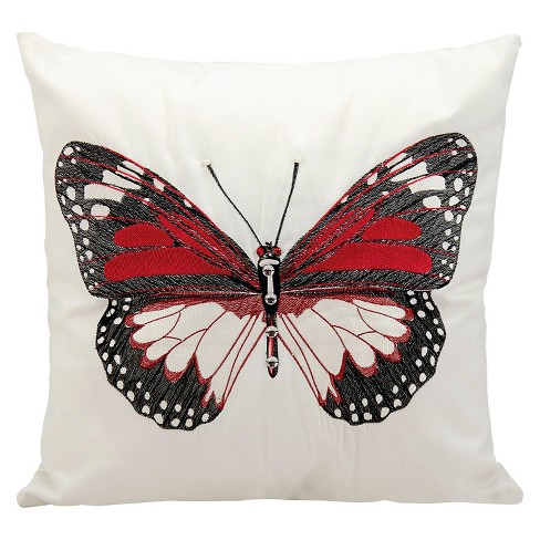 "Red Butterfly Indoor/Outdoor Throw Pillow (18""x18"") - Nourison - image 1 of 1"
