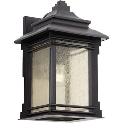 "Franklin Iron Works Rustic Farmhouse Outdoor Wall Light Fixture Walnut Bronze Iron 16"" Cream Glass for Exterior Patio Porch House"