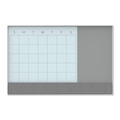 "U Brands 48""x36"" 3-in-1 Magnetic, Glass, Dry Erase Calendar White Aluminum Frame"