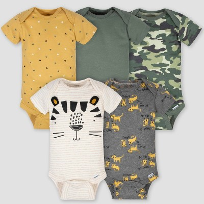 Gerber Baby Boys' 5pk Jungle Bodysuit - 0-3M