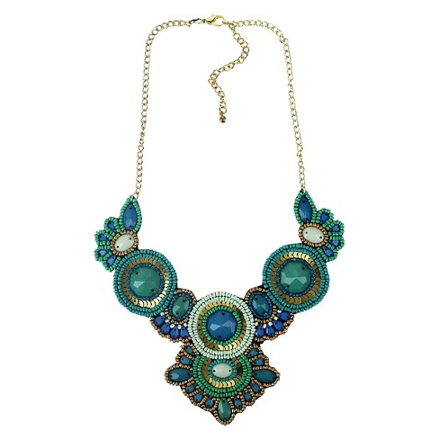 """Bib Necklace with Stones, Beads and Sequins Teal with Bronze - 15"""" - image 1 of 1"""