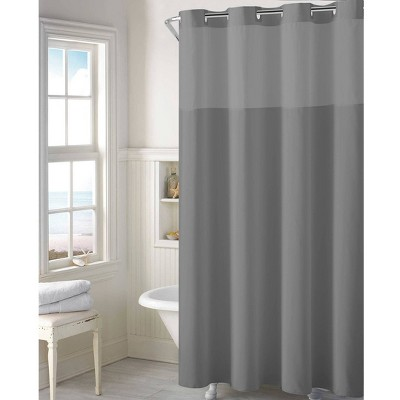 Plain Weave Shower Curtain with Liner Gray - Hookless