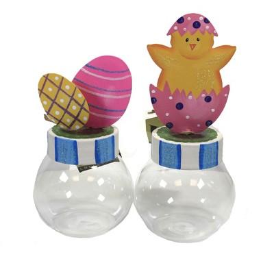 "Easter 8.5"" Chick & Egg Bubble Jars Eggs Chick  -  Decorative Jars"