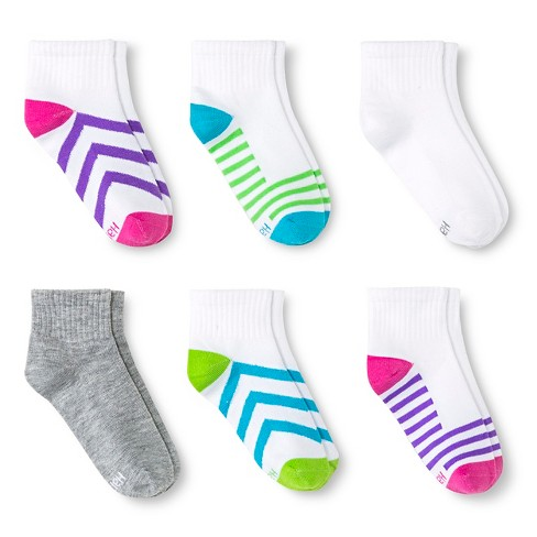 Hanes Premium Girls' 6-Pack Athletic Ankle Socks - Multicolored - image 1 of 1
