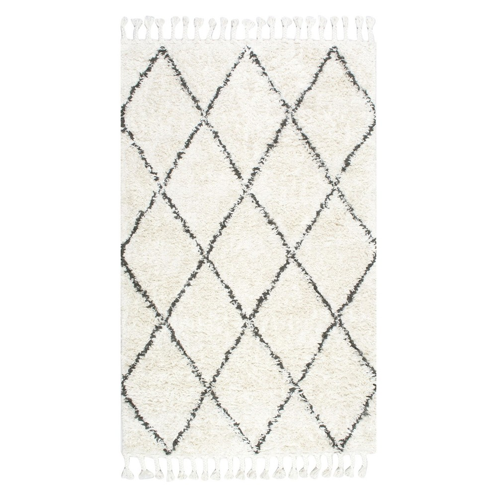 Brown Solid Shag/Flokati Knotted Square Area Rug - (8') - nuLOOM, Natural