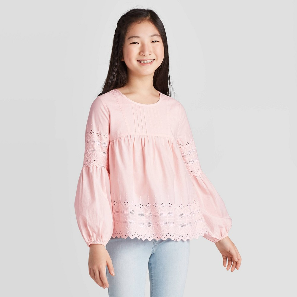 Image of Girls' Long Sleeve Blouse - Cat & Jack Pink L, Girl's, Size: Large