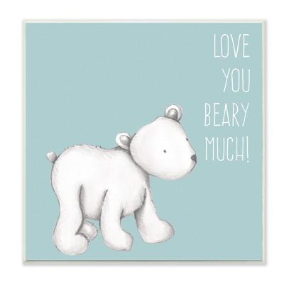 Love You Beary Much! Polar Bear Wall Plaque Art (12 x12 )- Stupell Industries
