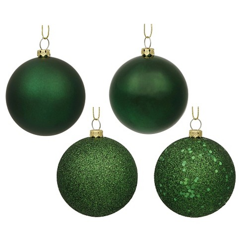 60ct Emerald Green Assorted Finishes Plastic Ball Shatterproof Christmas Ornament Set - image 1 of 1