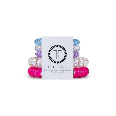 TELETIES All Wrapped Up Holiday Mixed Hair Elastics - 5ct - Pink